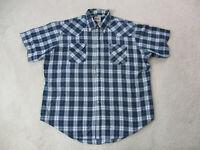 Ely Cattleman Pearl Snap Button Up Shirt Adult 2XL XXL Blue Silver Cowboy Mens