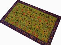 """49"""" GREEN HANDCRAFTED VINTAGE TRIBAL DECOR TEXTILE GUJRATI WALL HANGING TAPESTRY"""