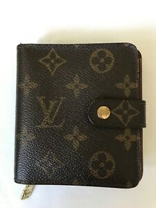 Authentic Louis Vuitton Monogram Compact Wallet, Zip Bifold