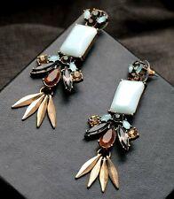 "J Crew Neutrals/Aqua Bronze Feathers 3"" Crystal Resin Dangle Stud Earrings Vtg"