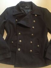 COSTUME NATIONAL HOMME MENS BLACK WOOL DOUBLE BREASTED PEACOAT SZ.S