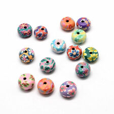 200pcs Flat Round Handmade Polymer Clay Beads Flower Painted Mixed Color 11~12mm