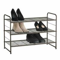 NEX 3 Tier Shoe Rack Stackable Metal Shoe Shelves Storage Organizer Rack