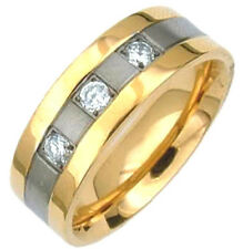 TITANIUM Fancy Ring with Three-Stone CZ Accent & Gold Plated Edges, size 12