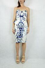 CUE White Digital Print Strapless Peplum Dress Size 10