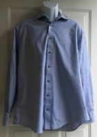 Charles Tyrwhitt Weekend Dark Blue Long Sleeve Slim Fit Shirt mens sz L