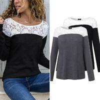 Automne et Hiver Femme Manche Longue Couture en Dentelle Casuel Haut Shirt Tops