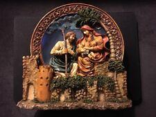 "Nativity Scene 3D 7"" X 7"" Ceramic Plate Christmas Mary Joseph & Baby Jesus"