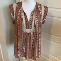 Daniel Rainn Women's Sleeveless Blouse Top Tunic Boho Embroidered Relaxed Medium