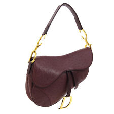 Christian Dior Saddle Hand Bag RU0050 Purse Bordeaux Embossed Leather AK38773