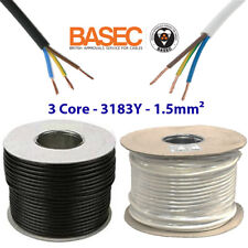 13 AMP 3 CORE ELECTRICAL 1.5mm CABLE MAINS INDOOR WIRE FLEXIBLE 3183Y PER METER