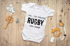 Shh...I'm Watching Rugby With Daddy BabyGrow - Funny Baby Babies Newborn Gift