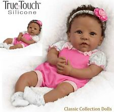 "Ashton Drake ""TASHA""-LIFELIKE AFRICAN/AM SILICONE BABY DOLL-HAND ROOTED HAIR-NEW"