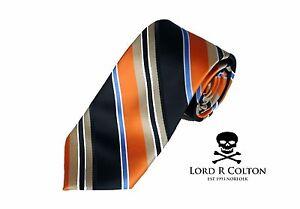Lord R Colton Studio Tie Orange Navy & Gold Stripe Woven Necktie $95 New