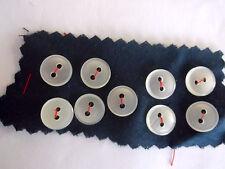 VINTAGE PLAIN MILKY-WHITE PLASTIC SHIRT BUTTONS 9 x 12mm