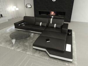 Sofa Eckcouch Designersofa Couch Messana L Form Kunstleder Schwarz Ottomane LED