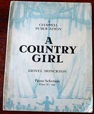 LIONEL MONCKTON A COUNTRY GIRL PIANO SELECTION SHEET MUSIC (1942) ENGLAND