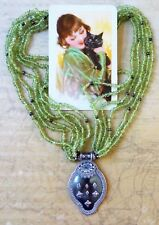 Vintage Sterling Silver & Peridot 45cm Long Necklace- Pendant Marked '925'