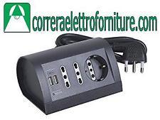 Multipresa elettrica ciabatta BTICINO da scrivania 2 USB nera antracite S3711GU