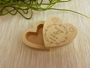 Floral Wreath Wedding Ring Carrier Heart Box Personalised Engagement Gift
