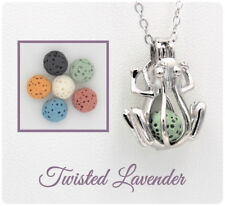 Frog Aromatherapy Essential Oil Necklace Diffuser with 6 lava stones!