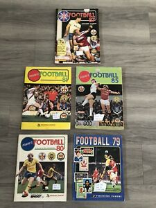 5 X Panini football sticker albums 1979/1980/81/85/87 bundle Part filled! Rare.