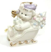 Vintage Lenox Classics Christmas Ornament Teddy's Sleigh Ride 2001 Teddy Bear