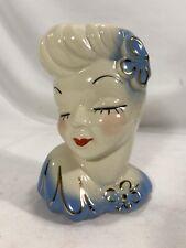 Vtg Glamour girl head vase/planter pottery
