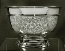 Reed & Barton Sterling Punch Bowl            c1940 HAND DECORATED