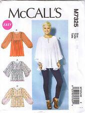 Gathered Tops Tunic Sleeve Variation McCalls 7325 Sewing Pattern L XL XXL 16-26