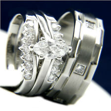 New 3 PCS Stainless Steel Womans Engagement Mans Wedding Bridal Band CZ Ring Set