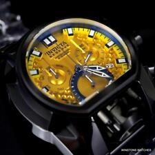 Invicta Reserve Bolt Zeus Magnum Black Rubber 52mm Dual Yellow Dials Watch New