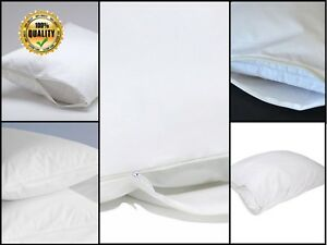 Leo 100% Anti Allergy Cotton Pillow Protectors Pair Zipped Closing Hotel Quality