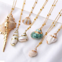 Bohemian Natural Starfish Conch Seashell Pendant Necklace Beach Jewelry Gi SL