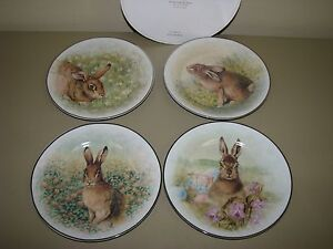New Pottery Barn Meadow Bunny Easter Spring dessert SALAD PLATES set of 4 in box