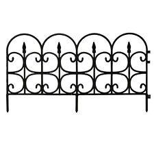 "12-Pack 16"" Classic Decorative Resin Garden Fence Black Easy Curve Shape Border"