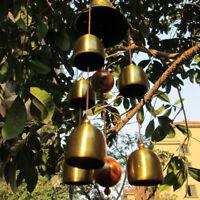 "6 Copper Bells Outdoor Metal Wind Chimes Yard Garden Hanging Ornament Decor 15"""