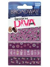 BROADWAY FASHION DIVA Nail Art Stickers FLOWERS+FAUX JEWELS Purple+White #54226