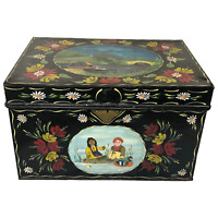 Fine Vintage Rosie & Jim Style Hand Painted Metal Canal Boat Chest Coffee Table