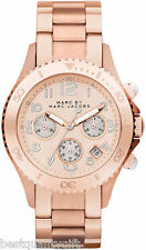 NEW MARC JACOBS ROSE GOLD STAINLESS STEEL ROCK CHRONOGRAPH WATCH-MBM3156