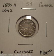 Canada Victoria 1880H Obv 2 Silver Five Cents - F