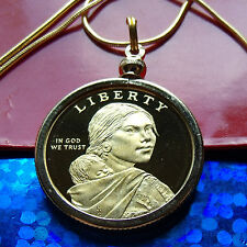 """PROOF 2010 GOLDEN AMERICAN DOLLAR Coin Pendant on a 24"""" Gold Filled Snake Chain."""