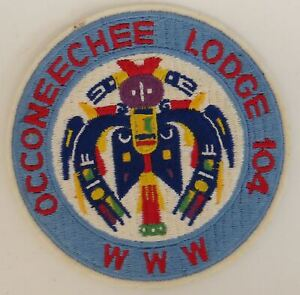 OA Occoneechee Lodge 104 Round WHT Bdr. Occoneechee, NC (GLUE ON BACK) [TK-472]