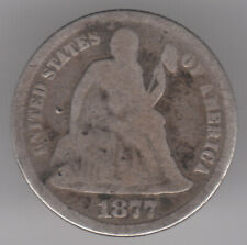 United States 10c 1 Dime 1877 Silver (.900) Coin - Seated Liberty