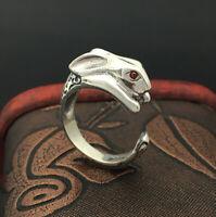 A15 Ring Sterling Silber 925 Hase Kaninchen mit roten Augen größenverstellbar