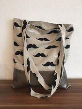 *handmade* Einkaufstasche Stofftasche Beutel langen Trägern -Bart- Leder neu!