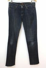 7 FOR ALL MANKIND Ladies Blue Cotton Blend Straight Ultra Low Jeans W34 L33