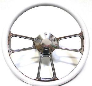 1961 - 1966 Dodge Dart Billet and White Steering Wheel, Full Install Kit, Horn