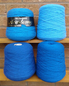 MACHINE KNITTING YARN (MAINLY 4 PLY) - 4 CONES (2kg) - BLUES.