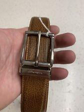 New $350 SANTONI Brown Leather Belt Adjustable Strap / Size 34